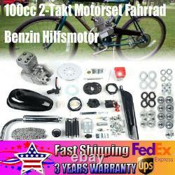 100cc 2 Stroke Gas Bike Engine Motor Kit DIY Motorized Bicycle Chrome Silver New