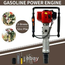 2 Stroke 52cc Gas Powered T Post Driver Pile Gasoline Engine Push Fence Farm