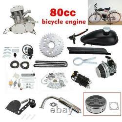 2 Stroke 80cc Gas Bike Engine Motor Kit DIY Motorized Bicycle Chrome pipe US