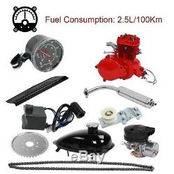2 Stroke 80cc Gas Bike Engine Motor Kit DIY Motorized Bicycle with Speedometer