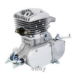 2 Stroke 80cc Motor Engine Kit Gas Petrol For Motorized Bicycle Bike Silver Pipe
