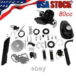 2Stroke Pk80 80cc Gas Bike Engine Motor Kit DIY Motorized Bicycle Chrome pipe &&