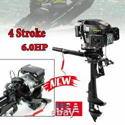 4 Stroke 6HP Gas Outboard Motor Fishing Boat Trolling Engine Air Cooling 3750W