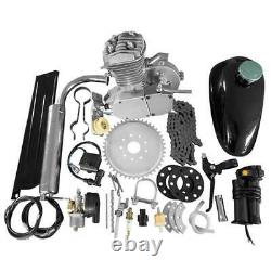 50cc 2-Stroke Cycle Bike Engine Motor Petrol Gas Kit for Motorized Bicycle Silve