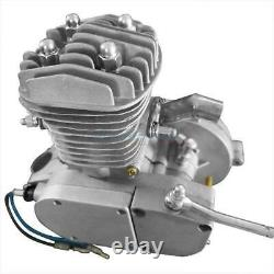 50cc 2 Stroke Gas Engine Motor Kit Motorized Bicycle Bike Silver Single Cylinder