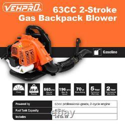 63CC 3HP High Performance Gas Powered Back Pack Leaf Blower 2 Stroke Engine