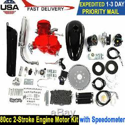 80CC Bike Motorized Bicycle 2-Stroke Petrol Gas Engine Motor Kit + Speedometer