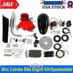 80cc 2 Stroke Bike Bicycle Engine Motorized Petrol Gas Motor Kit withSpeedometer