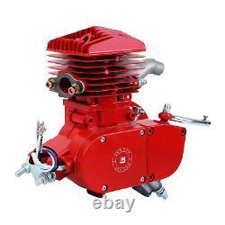 80cc 2 Stroke Cycle Motor Kit Motorized Bike Petrol Gas Bicycle Red Engine New