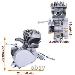 80cc 2 Stroke Gas Bike Engine Motor Kit DIY Motorized Bicycle Chrome Silver