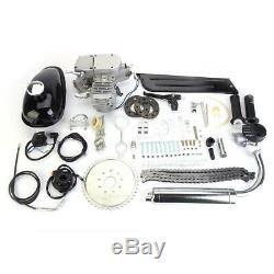 80cc 2 Stroke Gas Bike Engine Motor Kit DIY Motorized Bicycle Chrome Silver New