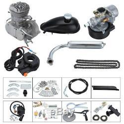 80cc 2-Stroke Sliver Petrol Gas Motor Engine Kit Set For Bike Bicycle Motorized
