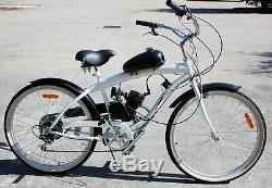 80cc Bike Bicycle Motorized 2-Stroke Petrol Gas Motor Engine Kit Set Silver New