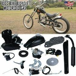 Black 80cc Bike Bicycle Motorized 2-Stroke Petrol Gas Motor Engine Kit Set