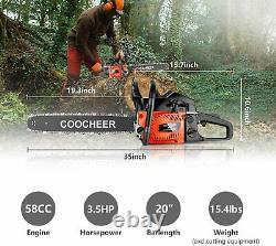 COOCHEER 20 62CC Gasoline Powered Chainsaw Bar Engine Wood Cutting 2 Stroke