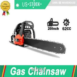 COOCHEER 20 Inch Chainsaw Gasoline Powered Chain Saw 62CC Two-stroke Engine US