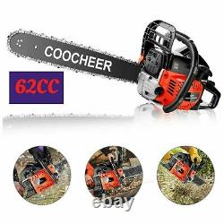 Chainsaw, 62CC 2 Stroke Gas Powered Chainsaw, 20-Inch 3.5 HP Handheld Engine