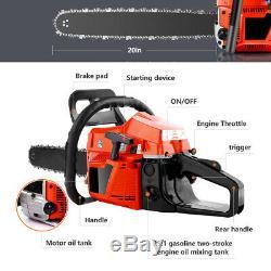 Coocheer 58cc Chainsaw 20Inch Bar Saw Gasoline Powered Engine 2-Stroke Chain Saw