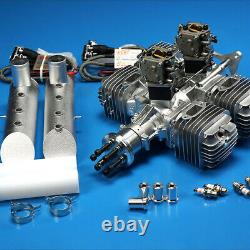 DLE 222CC Gas Engine Four Cylinder Two Stroke Side Exhaust with CDI & Muffler
