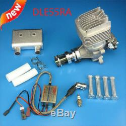 DLE55RA 55CC Two Stroke Rear Exhaust Gas Engine with Muffler&Ignition for RC Plane