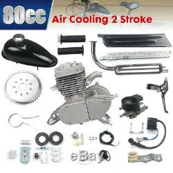 Full Kit 80cc Bike Bicycle Motorized 2 Stroke Petrol Gas Motor Engine Silver set