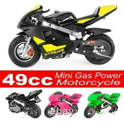 Gas Power Pocket Bike Motorcycle 49cc 4-Stroke Engine For Kids And Teens BLack