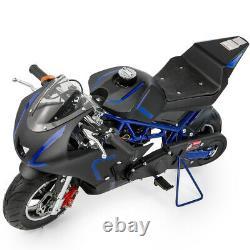 Mini Gas Power Pocket Bike Motorcycle 40cc 4-Stroke Engine Kids And Teens Blue