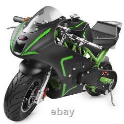 Mini Gas Power Pocket Bike Motorcycle 40cc 4-Stroke Engine Kids And Teens Green
