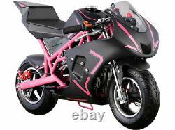 Mini Gas Power Pocket Bike Motorcycle 40cc 4-Stroke Engine Kids And Teens Pink