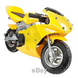 Mini Pocket Rocket Bike Gas Powered 49cc 2-Stroke Engine Motorcycle Red Yellow