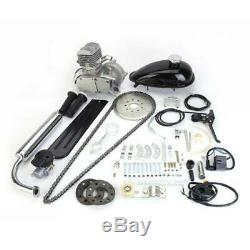 New 2 Stroke 80cc Bicycle Petrol Gas Motorized Engine Bike Motor Kit Silver