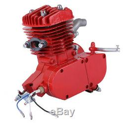 Red 80cc 2-Stroke Cycle Bike Engine Motor Petrol Gas Kit fit Motorized Bicycle