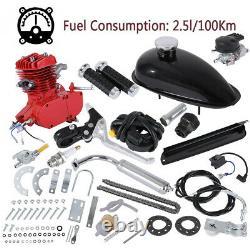Red 80cc 2-Stroke Cycle Bike Engine Motor Petrol Gas Kit fr Motorized Bicycle