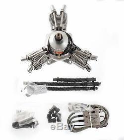 Saito FG-60 R3 Gas / Petrol 3 Cylinder Radial 4 Stroke Engine SAT60R3FG