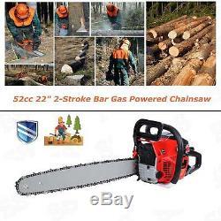 Samger 22 Bar Gas Chainsaw Chain Saw 52cc 2-Stroke Engine with Crankcase Gasoline