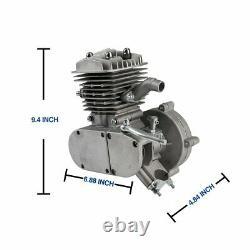 Silver 80cc Bike Bicycle Motorized 2 Stroke Petrol Gas DIY Motor Engine Kit set
