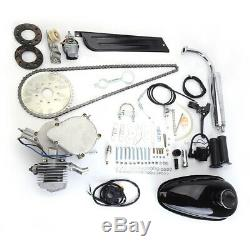 Silver 80cc Bike Bicycle Motorized 2 Stroke Petrol Gas Motor Engine Kit Set