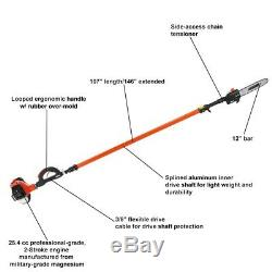 Telescoping Pole Saw 12 25.4CC Gas Engine 2 Stroke Cycle with Loop Handle Outdoor