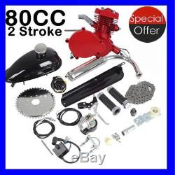 UPGRADED 80cc 2-Stroke Motor Engine Kit Gas for Motorized Bicycle Bike Red US SK