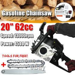 US 4500W 20'' Bar 62CC Chainsaw Gasoline Powered Wood Chain Saw 2 Stroke Engine